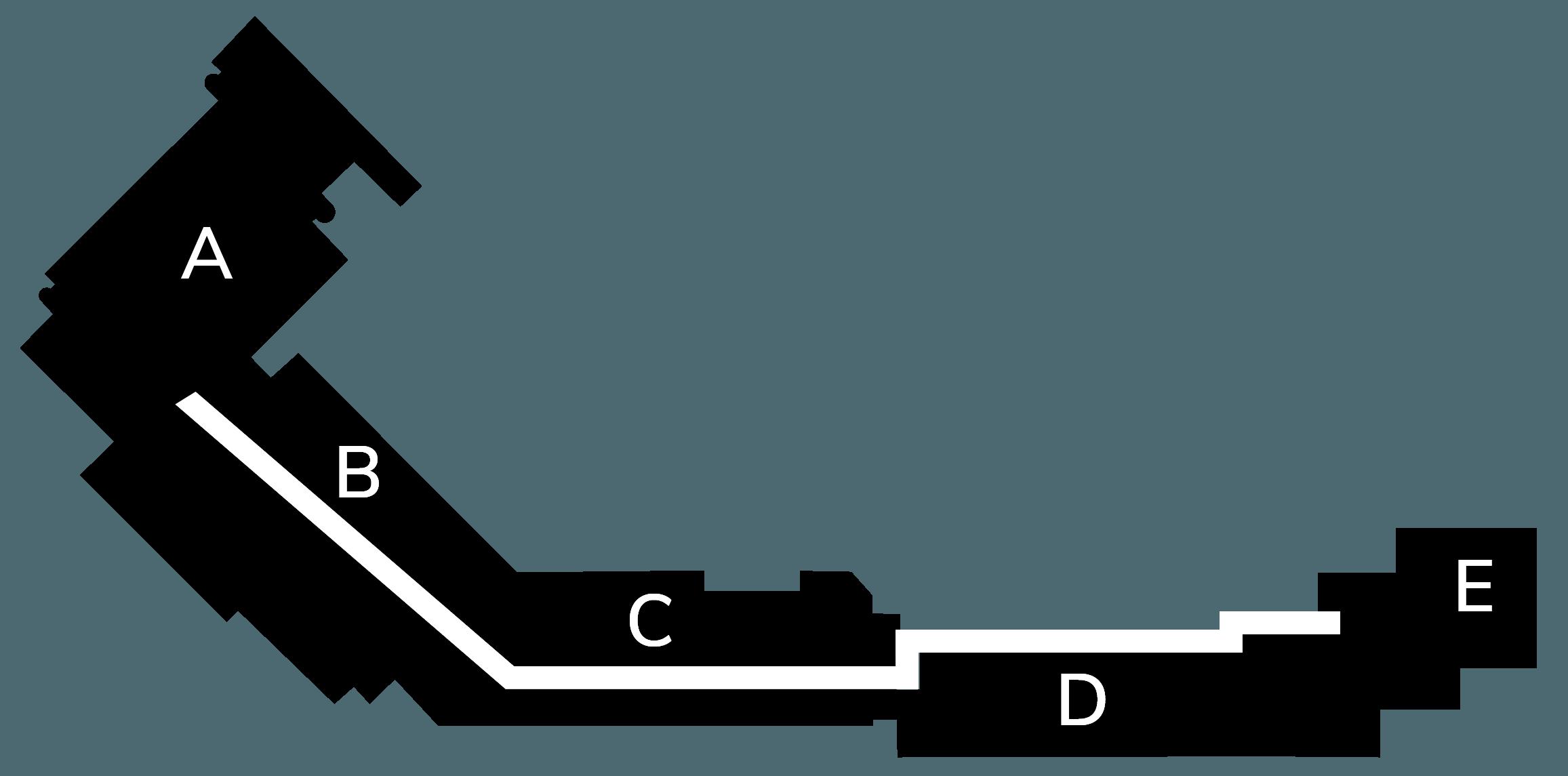 Kart over kontorbygget der bygg A er markert