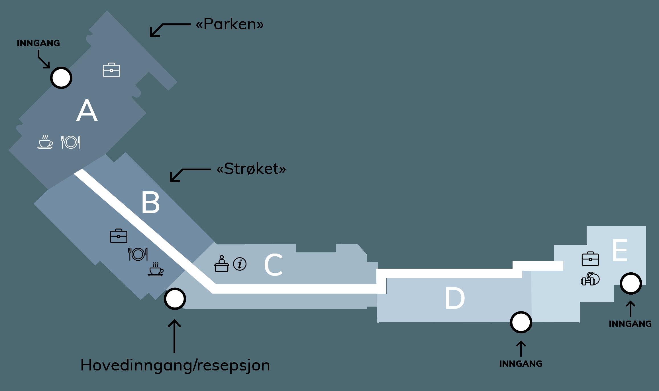 Kart over bygget, inndelt i bygg A, B, C, D og E.