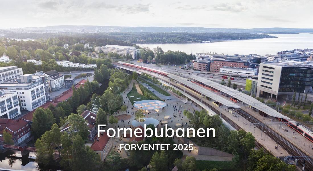 Illustrasjon, fugleperspektiv, over Lysaker stasjon med nye Fornebubanen