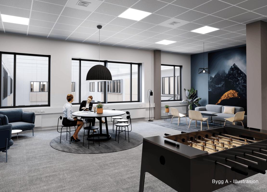 Illustrasjon av kontorlokalet i bygg A — fotballspill i forgrunnen og to kollegaer som sitter ved et bord i bakgrunnen